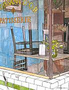Food And Beverage Drawings - 29  Croissant Dor Patisserie by John Boles