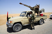 National Liberation Army Prints - A Free Libyan Army Pickup Truck Print by Andrew Chittock