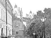 Jewels Drawings Framed Prints - A glimpse of the London Tower Framed Print by Joseph Hendrix