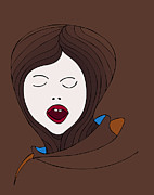 Emotional Drawings Prints - A Woman Print by Frank Tschakert