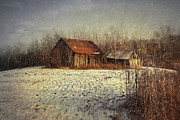 Evocative Posters - Abandoned barn with snow falling Poster by Sandra Cunningham