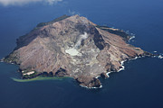 Crater Lake View Prints - Aerial View Of White Island Volcano Print by Richard Roscoe