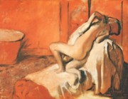 Pastel Study Pastels - After the Bath by Edgar Degas