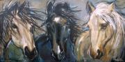 Horse Portraits Prints - 3 Amigos Print by Mary Leslie