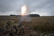 Artillery Metal Prints - An 81mm Mortar Team Live Firing Metal Print by Andrew Chittock