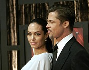 Hair Slicked Back Posters - Angelina Jolie, Brad Pitt At Arrivals Poster by Everett
