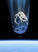 Planetoid Photos - Asteroid Approaching Earth, Artwork by Detlev Van Ravenswaay