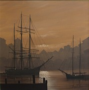 Masted Ship Paintings - At Rest by George E Lee