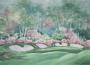 Deb Ronglien Watercolor Posters - Augusta National 13th Hole Poster by Deborah Ronglien