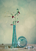 Glass Table Reflection Art - Autumn Still Life by Nailia Schwarz