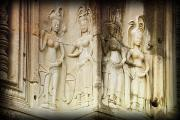 Bas-relief Posters - Bas-reliefs Of Hindu Myths At Angkor Poster by Carson Ganci