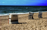 3 Beach Chairs Print by Hannes Cmarits