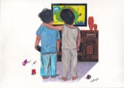 Best Art Drawings Prints - Best Buddies Print by Lea Velasquez