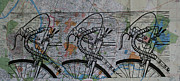 Linocut Metal Prints - Bike 2 on map Metal Print by William Cauthern