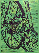 Lino Drawings Metal Prints - Bike 3 Metal Print by William Cauthern