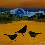 Birds Tapestries - Textiles Framed Prints - 3 Blackbirds Framed Print by Carolyn Doe