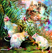 Colrful Framed Prints - 3 Blind Mice Framed Print by Tammera Malicki-Wong