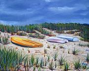 Cape Cod Painting Metal Prints - 3 Boats Metal Print by Paul Walsh