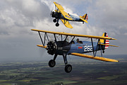 Stunt Framed Prints - Boeing Stearman Model 75 Kaydet In U.s Framed Print by Daniel Karlsson