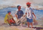 Figures Painting Framed Prints - 3 Boys and a Beach Framed Print by Albert Fendig