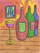 Wine Drawings - 3 Brands by Ray Ratzlaff