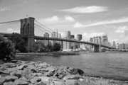 Fine American Art Posters - Brooklyn Bridge - New York City Skyline Poster by Frank Romeo