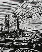 Linocut Linoluem Drawings - Burnet Road by William Cauthern