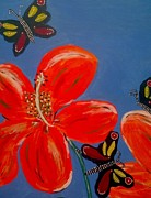 Stems Mixed Media - 3 Butterflys Good Spirit Near by Julie Butterworth