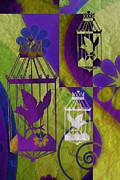 Paper Mixed Media - 3 Caged Birds by Angelina Vick