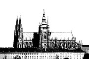 Cityspace Drawings Prints - Cathedral of St Vitus Print by Michal Boubin