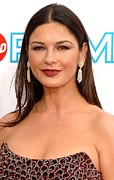 Dangly Earrings Framed Prints - Catherine Zeta-jones At Arrivals Framed Print by Everett