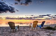 Lake Summer Posters - 3 Chairs Sunrise Poster by Scott Norris
