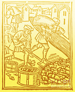 Charcoal Burner Posters - Charcoal Burners, Medieval Tradesmen Poster by Science Source