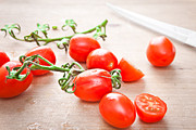 Italian Kitchen Photo Framed Prints - Cherry tomatoes Framed Print by Tom Gowanlock