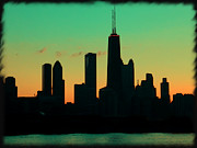 Boat Cruise Photo Prints - Chicago Skyline Cartoon Print by Sophie Vigneault