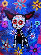 Dog Art Of Chihuahua Framed Prints - Chihuahua Day Of The Dead Framed Print by Pristine Cartera Turkus