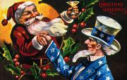Santa Claus Prints - Christmas Card Print by Granger