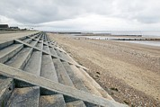 Sea Wall Prints - Coastal Defences, Norfolk Print by Colin Cuthbert