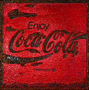 Closeup Coke Sign Prints - Coca Cola Classic Vintage Rusty Sign Print by John Stephens