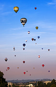 Balloon Fiesta Posters - Colorful balloons on colorful sky Poster by Angel  Tarantella
