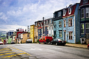 Red Buildings Posters - Colorful houses in St. Johns Newfoundland Poster by Elena Elisseeva