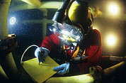 Diving Helmet Photo Posters - Commercial Diver Poster by Alexis Rosenfeld