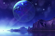 Digitally Generated Image Art - Cosmic Seascape On Another World by Corey Ford