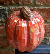 Vegetables Glass Art - 3-D Mosaic Pumpkin by Kathleen Stewart