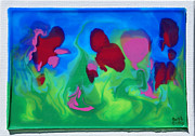 Red Flowers Reliefs - 3-D Poured Edges by Ruth Collis
