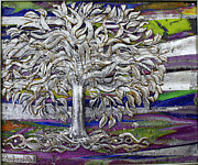 Landscapes Ceramics - 3 D Silver Tree by Luminita Feodoroff