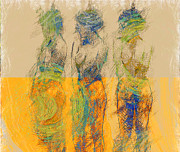 Nudes Drawings Prints - 3 Dames Print by Shabbir Degani