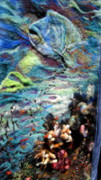 Felt Tapestries - Textiles Posters - Detail of Water Poster by Kimberly Simon