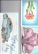 Christmas Greeting Pastels Framed Prints - 3 Different Cards Framed Print by Jay Van
