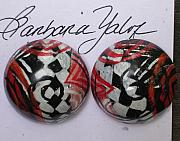 Hand Painted Jewelry - 3 Dimensional Earrings by Barbara Yalof